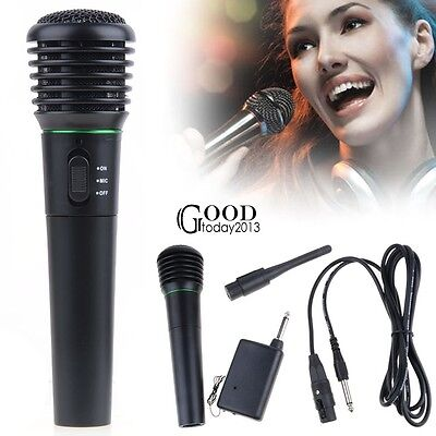 2 in 1 Wired Wireless Cordless Handheld Microphone Mic For Karaoke Singing TXGT