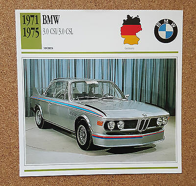 CLASSIC Cars Fact & photo reprint picture card BMW 3.0 CSI CSL German Sports