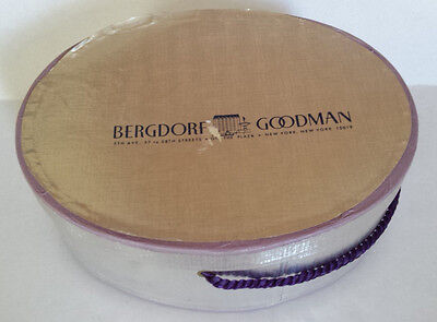 Vintage Bergdorf Goodman On the Plaza Small Hat Empty Silver Oval Box Purple