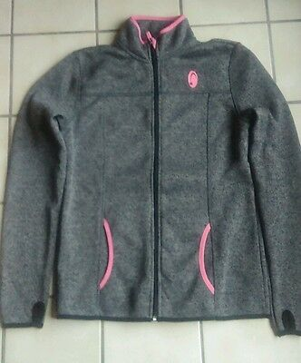 Gilet tricot polaire gris rose taille M