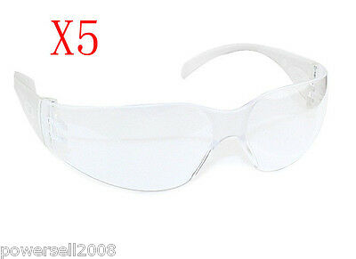 Polycarbonate Comfortable Protection Transparent Laboratory Safety Glasses 5 PCS