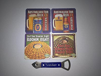 Fosters Lager Beer vintage 2 way bottle can opener + 2 USA Fosters coasters