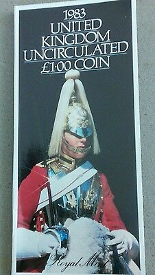 1983 Royal Mint Uncirculated £1 coin in Folder