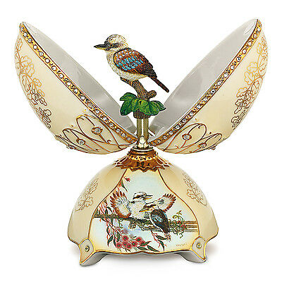 Heirloom Porcelain® Kookaburra Music Box with 22K Gold Accents and Faux Gems