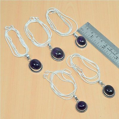 Wholesale 5Pc 925 Silver Plated Purple Amethyst Pendant & Chain Lot