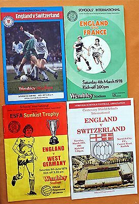 Four England Schools Football Programmes From 1978,1979,1985,1991.