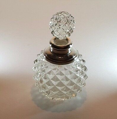 Beautiful Hobnail Cut Crystal Perfume Scent Bottle With Hm Silver Collar 1922