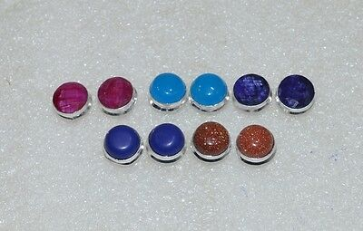 925 Silver Plated Wholesale 5Pair Red Sun Stone & Mix Stone Studd Earring Lot