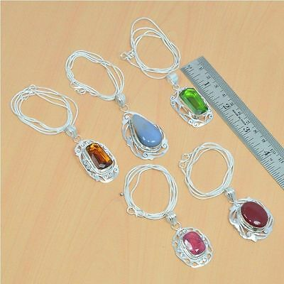 Wholesale 5Pc 925 Silver Plated Ruby & Mix Stone Filigree Pendant & Chain Lot
