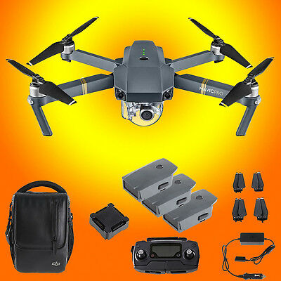 DJI Mavic Pro GPS Folding Drone Fly More Combo w/Carry Case &Two Extra Batteries