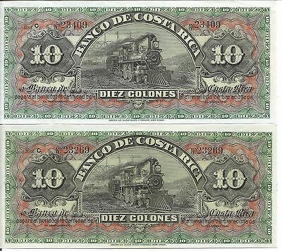 COSTA RICA: LOT OF 2 BANKNOTES- 2 x 10 COLONES - S174r - UNC