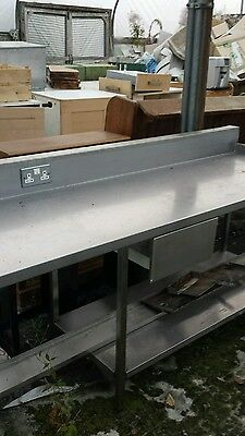 stainless steel table with electriic ppoints  and shelf catering