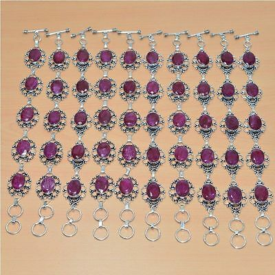 Wholesale Lot 10 Pc 925 Silver Plated Faceted Red Ruby Bracelet Jewelry