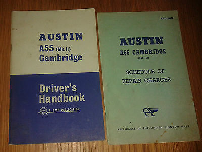 Austin A55 Cambridge MkII Drivers Handbook 1964 plus schedule of repair charges