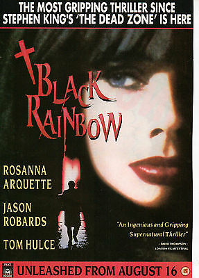 A4 Advert for the Video Release of Black Rainbow Rosanna Arquette Jason Robards