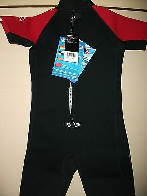 BLACK RED WETSUIT SHORTIE SIZE K11 age 10/11 from TWF
