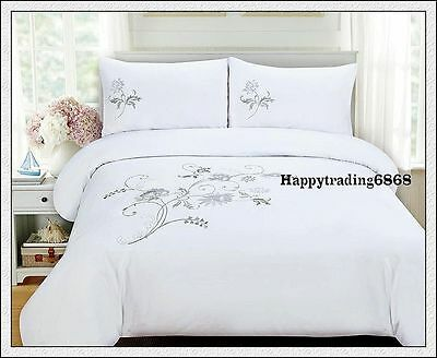 280TC White Silver Embroidered * 3pc KING QUILT DOONA DUVET COVER SET