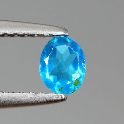 0.355 Ct 100% Natural Very Rare Neon Blue Color Apatite Oval Cut Rare To Find!