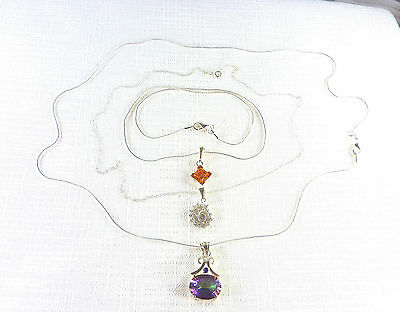 Lot x3 Amber,Cubic Zirconia,Amethyst,Topaz Solid 925 Sterling Silver Necklaces