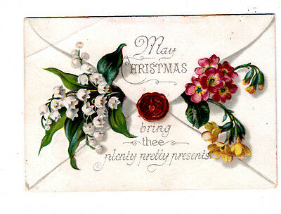 May Christmas Bring Thee Plenty Pretty Presents Envelope Vict Card c 1880s