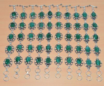 Wholesale Lot 10 Pc 925 Silver Plated Faceted Green Emerald Bracelet Jewelry
