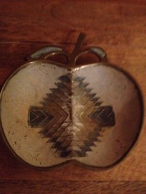 Vintage Solid India Brass Inlaid Enamelled Apple Shaped Dish