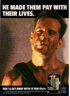 A4 Advert for the Video Release of Die Hard Bruce Willis