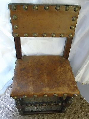 arts and craft style leather & brass stud chair antique oak dark tan brown