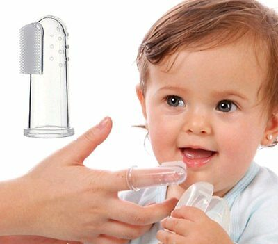 Baby Oral Teether Finger Toothbrush - Soft Silicone - Toddler Gum Massager UK