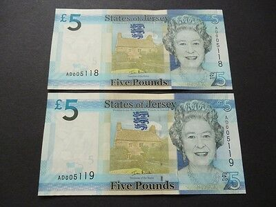 A Pair Of Jersey Five Pound Notes Consecutive Uncirculated Mint Condition