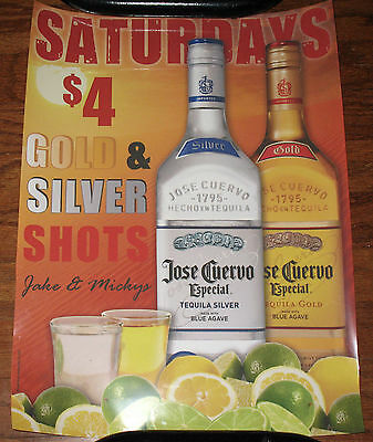 """JOSE CUERVO ADVERTISING DISPLAY SIGN  INSERT POSTER 24 x 18 """"Gold Silver Shots"""""""