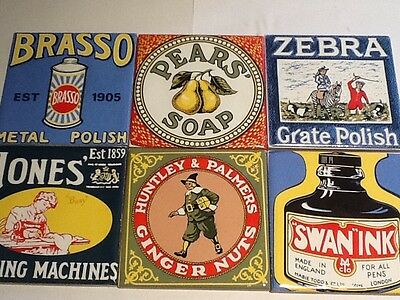 6 VINTAGE ADVERTISING TILES excellent condition