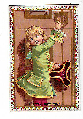 A Happy New Year Patriot Girl Knocking at Door Calendar 1881 Vict Card