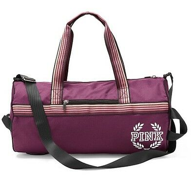 Victoria's Secret Pink Gym Duffle Bag Maroon / Black Orchid - New!