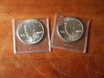 Lot Of 2 $10.00 Coins Uncirculated From Liberia With Kennedy On The Front From T