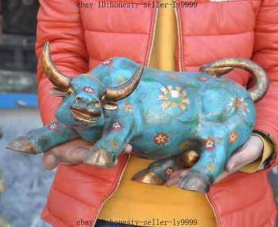 """17"""" old china fengshui gilt bronze Cloisonne flower Ox Bull oxen Cattle statue A"""