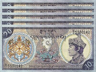 Bhutan 10 Ngultrum 1986 Unc 5 Pcs Consecutive Lot P.15A Low Serial