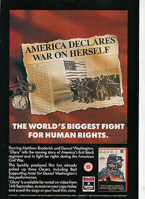 A4 Advert for the Video Release of Glory Denzel Washington Matthew Broderick