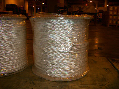 "1/4"" x 600' Double Braid Polyester cable pulling rope w/ 6"" eyes on each end"