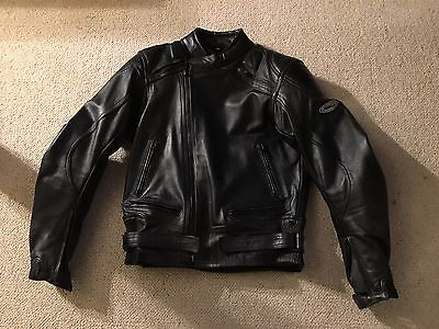 """Ashman cowhide leather motorcycle motorbike jacket - 38"""" chest - mint condition"""