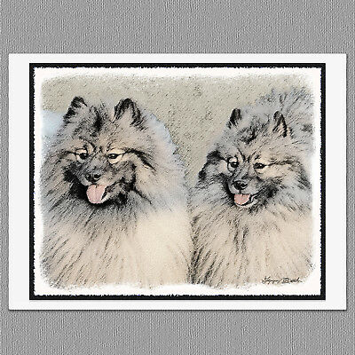 6 Keeshond Brothers Portrait Dog Blank Art Note Greeting Cards