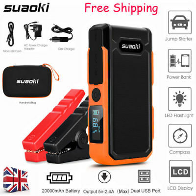 Portable Car Jump Starter Booster Emergency Battery Charger Bank Pack Flashlight