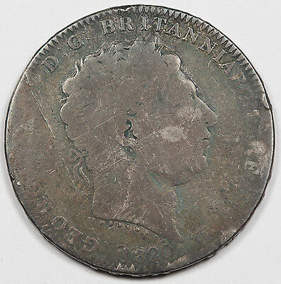 Great Britain 1820 LX Silver Crown Coin George III Poor/AG KM #675