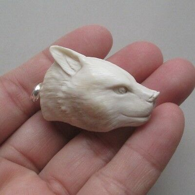 Wolf Head Pendant Deer Antler Carving with Silver Bail 060312