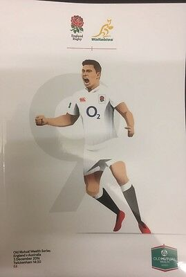 NEW ENGLAND v AUSTRALIA OLD MUTUAL Series Rugby Union Programme 03/12/2016