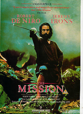A4 Advert for the Video Release of The Mission Robert De Niro Jeremy Irons