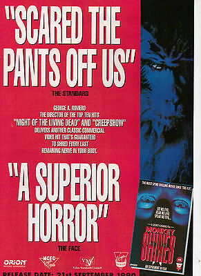 A4 Advert for the Video Release of Monkey Shines George A Romero