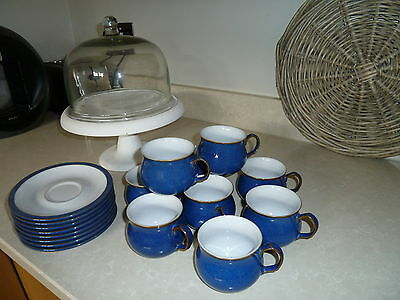 Eight Denby Imperial Blue Coffee Cups & Saucers