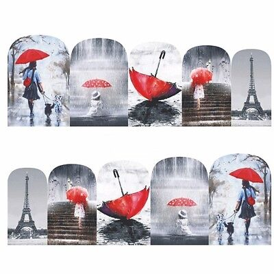 Nail Art Stickers Water Decals Transfers Red Downpour (DB381)