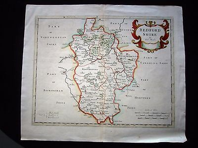 Antique Map Of Bedfordshire. Robert Morden. Hand Coloured. 18Th Century
